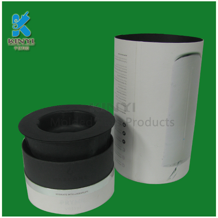 Black Molded Paper Pulp Packaging Inserts With Paper Packaging Tubes
