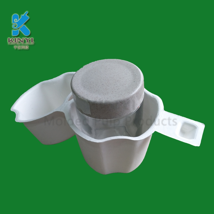 Custom biodegradable molded paper sugarcane bagasse pulp bottle box